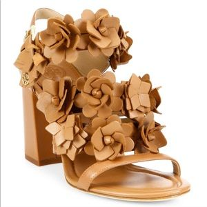 New Tory Burch Royal Tan Blossom Leather sandals